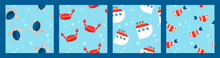 Set Of Four Nautical Baby Seamless Patterns With Fish, Crabs, Ships And Turtles. Cartoon Flat Design. Marine Theme
