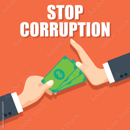 Fotografija stop corruption concept businessman hand refusing corruption money, vector illus