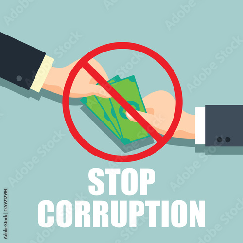 stop corruption concept businessman hand refusing corruption money, vector illus Slika na platnu