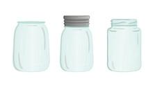 Vector Glass Jar Icon Set. Cut...