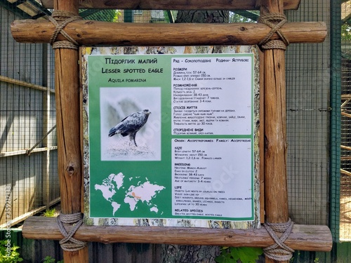 Info of lesser spotted eagle on info board in zoo Canvas Print