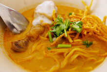 Northern Thai Curry Noodles With Chicken In White Bowl Is Local Food Culture In Thailand