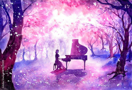 Canvastavla Watercolor Painting - Playing piano under blossom cherry tree