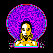 Seventies Woman In Acid Colorors