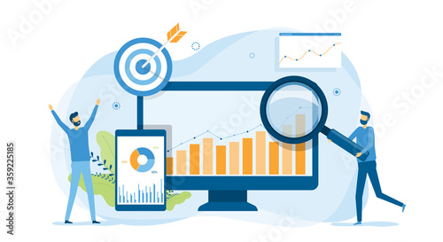 business people analytics and monitoring on web report dashboard monitor concept and vector illustration design for web landing banner background