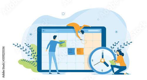 Obraz flat design concept people team working for business schedule planning with online calendar  and vector illustration design for web landing banner background concept    - fototapety do salonu