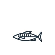 Mackerel Vector Icon Isolated On White Background. Outline, Thin Line Mackerel Icon For Website Design And Mobile, App Development. Thin Line Mackerel Outline Icon Vector Illustration.