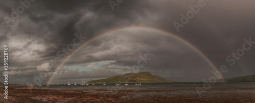 A rainbow panoramic shot from Lamlash beach on the Isle of Arran looking out over Holy Isle in the bay Wallpaper Mural