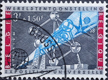 BELGIUM - CIRCA 1958: A Postage Stamp From Belgium For The World Exhibition Showing The Atomium Model
