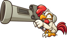 Cartoon Chicken Holding A Big ...