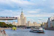 An Observation Deck In The Center Of Moscow. View Of The Moscow River From The Zaradye Park.