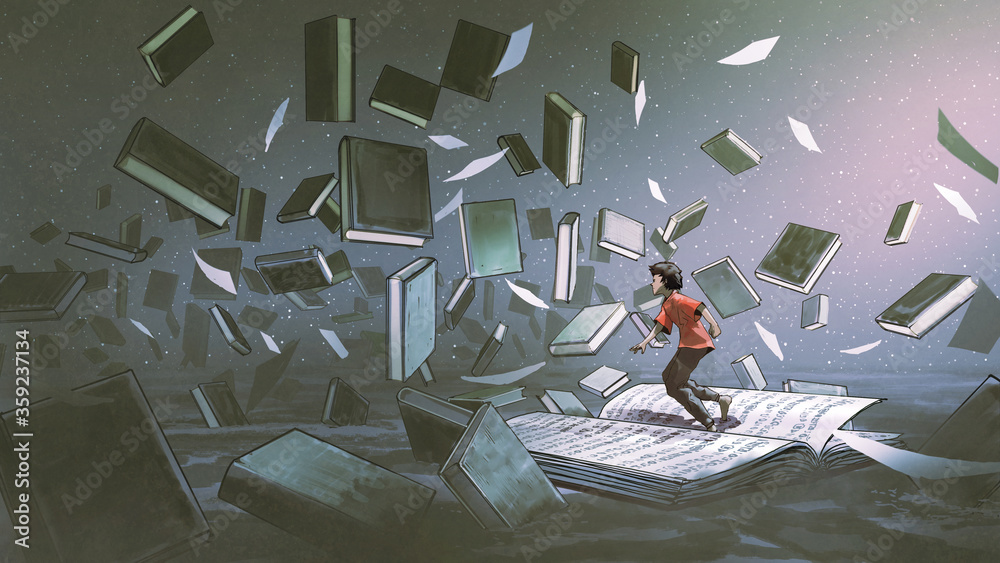 Fototapeta boy standing on the opened book and looking at other books floating in the air, digital art style, illustration painting