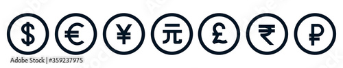 Photo Set of the most popular currency symbol