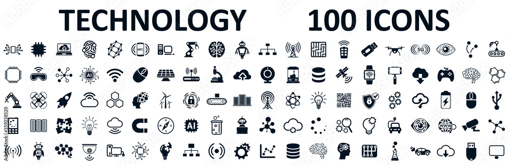 Fototapeta Set of 100 technology icons. Industry 4.0 concept factory of the future. Technology progress: 5g, ai, robot, iot, near field communication, programming and many more - stock vector