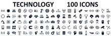 Set Of 100 Technology Icons. Industry 4.0 Concept Factory Of The Future. Technology Progress: 5g, Ai, Robot, Iot, Near Field Communication, Programming And Many More - Stock Vector
