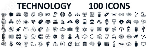 Fotografia Set of 100 technology icons