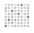 Hands and cosmetics social media cover icons gray
