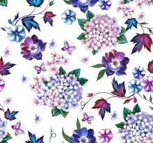 Watercolor Fashion Floral Pattern With Hydrangea And Loach Flowers , Butterflies And With A White Background.