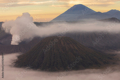 Платно Crater with active volcano smoke in East Jawa, Indonesia.
