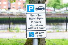 Car Park Sign Monday To Sunday Disabled At Any Time