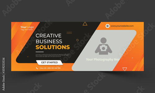 Creative business solution facebook cover template Canvas Print