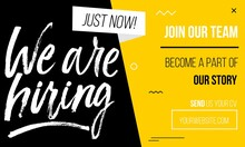 Join Our Team Banner, Poster Of Flyer Template With Yellow, White And Black Colors. Recruitment Design Template With Abstract Geometric Shapes And Brush Lettering. Vector Illustration