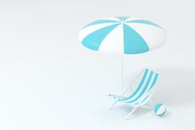 Sunshade, Beach Chair With Orange Background, 3d Rendering.