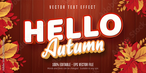 Fotomural Hello autumn text, autumn style editable text effect on wooden background