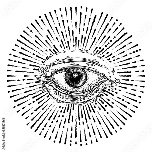 Obraz All seeing eye or Eye of Providence on decorative background sacred geometry. Ancient mystical sacral Masonic symbol. Hand drawn alchemy, religion and spiritual occultism. Conspiracy theory vector. - fototapety do salonu