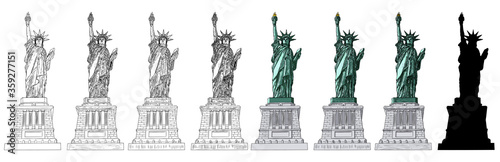 Fotografie, Tablou Statue of liberty set in different styles