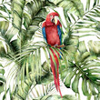Watercolor tropical seamless pattern with red parrot and palm leaves. Hand painted birds and jungle tree leaves. Floral illustration isolated on white background for design, print or background.