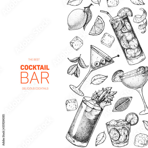 Cocktails hand drawn vector illustration. Alcoholic cocktails sketch set. Engraved style. Design template for bar. Bloody mary, dry martini, caipiroska, sidecar, long island iced tea.