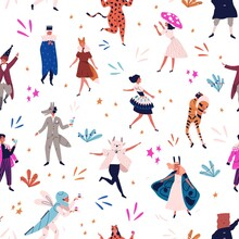 Happy Festive Man And Woman In Funny Masquerade Apparel Seamless Pattern. Joyful People At Carnival Party Vector Flat Illustration. Smiling Cute Person In Mask Dance And Jump Celebrate Holiday