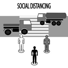 Keep A Social Distance While While Waiting At A Pedestrian Crossing. Important During Pandemic.