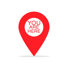 Location Pin YOU ARE HERE Text GPS Pointer Travel Button Marker Illustration Symbol