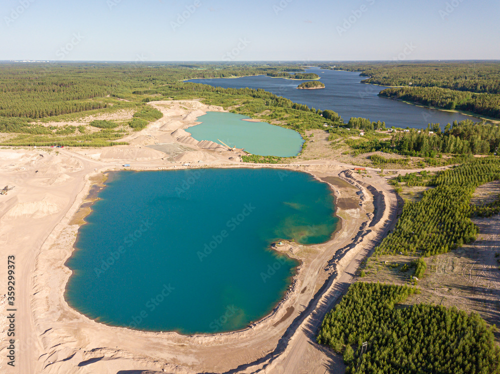 Photo from the air. The nature of Finland. Artificial reservoir (quarry). Finland. Porvoo