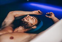 Handsome Beard Man Floating In...