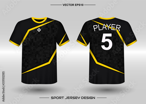 Fototapeta T-shirt sport vector design template, Soccer jersey mockup for football club. uniform front and back view. Clothing Men adult. Can use for printing, branding logo team, squad, match event, tournament obraz