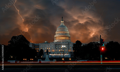 Lightning with dramatic clouds on United States Capitol Building in Washington DC USA