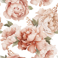 Fototapeta Kwiaty Seamless floral pattern with peony flowers on summer background, watercolor. Template design for textiles, interior, clothes, wallpaper. Botanical art