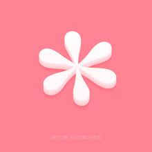 Vector White 3d Asterisk Icon