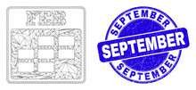 Web Mesh February Calendar Pictogram And September Seal. Blue Vector Round Distress Seal Stamp With September Text. Abstract Carcass Mesh Polygonal Model Created From February Calendar Icon.