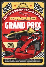 Car Races Retro Poster, Vintage Auto Rally Sport Championship And Grand Prix Tournament, Vector. Retro Sport Car Speedway Racing Tournament, Racecar Speedometer, Racetrack, Start And Finish Flags