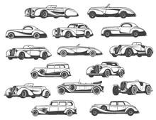 Retro Cars Set Vintage Classic...