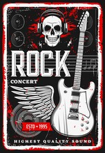 Rock Music Poster With Skull A...