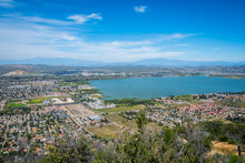 A Small Clear Lake In Along The Riverside County Of Lake Elsinore, California