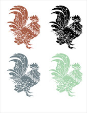Vector Set Of Rooster And Hen ...