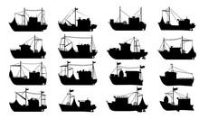 Fishing Boat Silhouette Set. F...