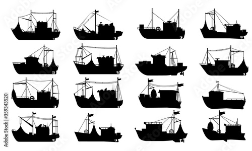 Fototapeta Fishing boat silhouette set
