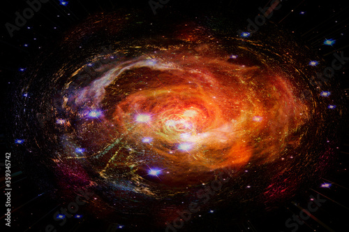 Black hole red spiral. Elements of this image furnished by NASA